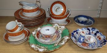 A 19th century Flight Barr and Barr part tea service, A Chinese export tea bowl and saucer and other