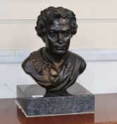 A bronze bust of Goethe, later stand height 31cm