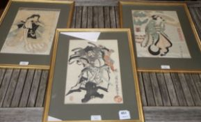 Japanese School, three woodblock prints, 35 x 23cm