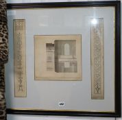 Attributed James Wyatt, original pen and ink designs of decorative pilasters and a section of a