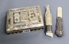 A mother of pearl trinket box and a carved ivory silver mounted handle and a silver handle