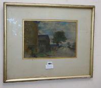 Sir William Rothenstein (1908-1933), pastel, Landscape with figure on a lane, 23 x 34cm