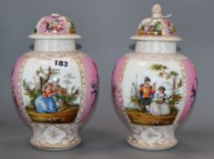 A pair of Dresden vases and covers