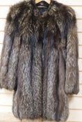 A silver fox fur jacket