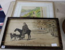 19th century English School - watercolour, Travelling monk in a landscape and another watercolour 30