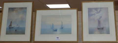 Fred Miller, pair of watercolours, Fishing boats on a calm sea, signed and dated 1875, 28 x 22cm and