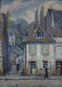 J. Ruellan, oil on wooden panel, 'Vaieille rue Pont Aven', 32 x 23cm