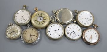 Nine assorted base metal pocket watches.
