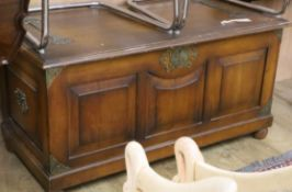 A walnut and brass mounted coffer W.112cm