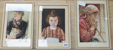 Austrian School, three watercolours, Studies of two girls and elderly woman