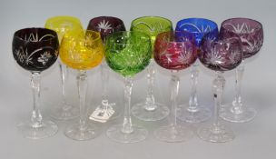 A set of ten hock glasses height 19cm