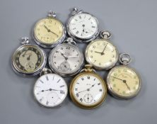 Eight assorted base metal pocket watches.
