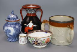 A 19th century Lambeth ware tyg, a Paris porcelain Grecian revival vase and three other pieces