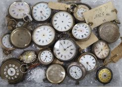 A collection of silver and base metal pocket watches, wristwatches and watch parts, in varied