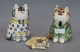 Two Rye pottery cats by Joan de Bethel and a Studio pottery calf tallest 18cm