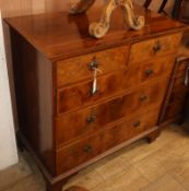 A Georgian style walnut chest of five drawers W.97cm