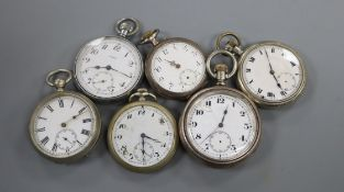 Six assorted base metal pocket watches.