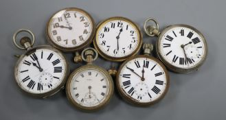 Three large pocket watches and three others.