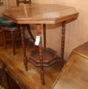 A late Victorian walnut octagonal centre table W.59cm