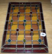 Two Victorian leaded glass panels height 58cm width 43cm