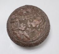 A carved Chinese box and cover diameter 16cm