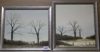 Michael Hill, pair of oils on board, Trees in winter, signed, largest 27 x 23cm