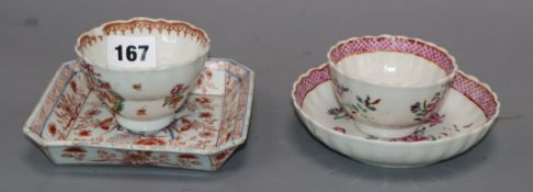 A Chinese Imari tray, a tea bowl and saucer and a similar tea bowl