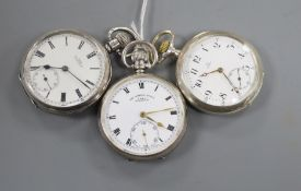 Three assorted pocket watches including Omega 800 standard, a silver 'The Norfolk Lever' and