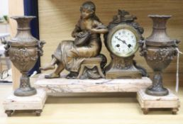 A French spelter figural clock garniture, signed Francois Moreau