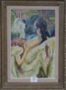 French School, oil on canvas, Seated female nude, unsigned, 40 x 26cm