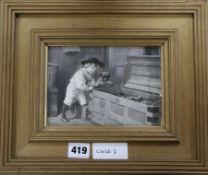 English School, c.1900, oil on board, monochrome original book illustration, boy and pug dog looking