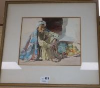Nancy J. Burton (1891-1972) watercolour, Arab fruit seller, signed, 27 x 32cm