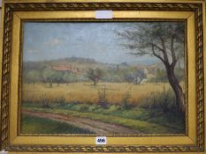 French School, oil on canvas, Landscape of Provence, unsigned 34 x 49cm