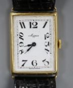 A gentleman's 1930's? 9ct gold manual wind rectangular wrist watch, retailed by Mappin, with