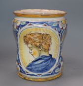 An 18th/19th century Italian maiolica albarello height 21cm