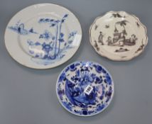 A Bristol Delft charger, a dish and a plate largest diameter 30cm