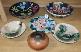 Two Donovan Art pottery bowls, a dish, two T. Smith studio pottery dishes and a vase (6)