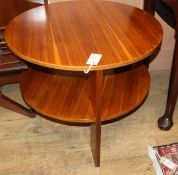A 1940's modernist circular teak coffee table in the style of Gerald Summers Diameter 61cm