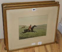 After Henry Alken, set of four (of 6) colour prints, Hunting recollections, 38 x 48cm overall and