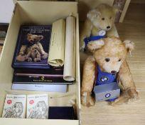 A Steiff BMW bear box - Steiff Good Luck bear, two Herman miniature bears. Brown Derby bone china
