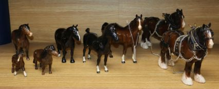 Eight Beswick horses, including two black and two Shire horses tallest 22cm