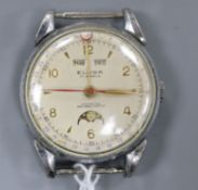 A gentleman's stainless steel Eloga manual wind calendar moonphase wrist watch (no strap).