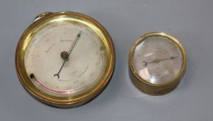 An E. J. Dent aneroid barometer and a Negretti and Zambra aneroid barometer