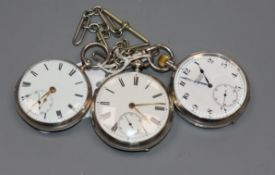An early 20th century silver open face pocket watch retailed by Robert Leith, with albert and two