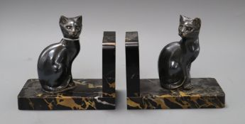 A pair of marble and spelter cat bookends height 15cm width 16cm