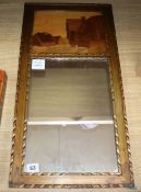A Rowley Gallery marquetry framed mirror overall length 63cm