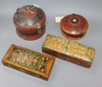 Four Persian lacquer boxes