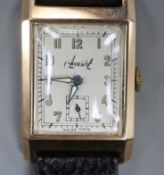 A gentleman's 1940's 9ct gold Accurist manual wind wrist watch, with rectangular Arabic dial and