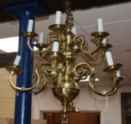 A Dutch two tier twelve branch electrolier height 66cm approx.
