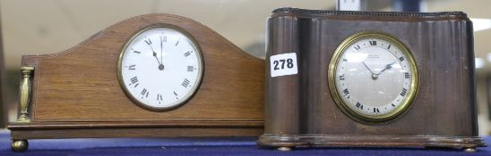 An Edwardian mahogany mantel timepiece and a similar later timepiece